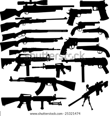 big weapon collection - vector - stock vector