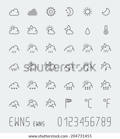 Big weather icons set, thin line - stock vector