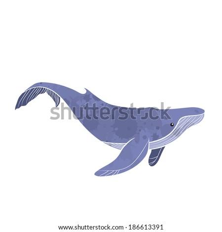 Big whale cartoon - Vector - stock vector