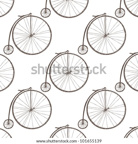 Big wheel bicycle - stock vector