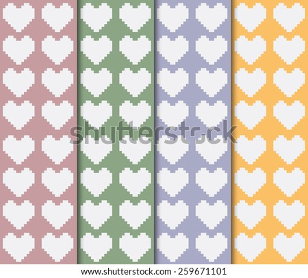 Big white hearts on colorful backdrop seamless pattern. Digital background vector illustration.  - stock vector