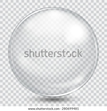 Big white transparent glass sphere with glares and shadow - stock vector
