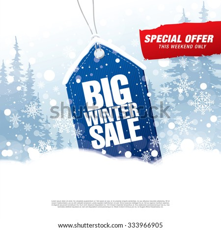 Big winter sale poster - stock vector