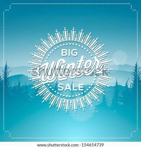 Big winter sale poster, vector illustration. - stock vector