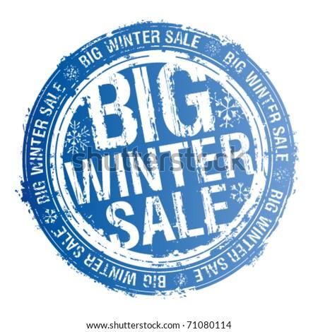 Big winter sale rubber stamp. - stock vector