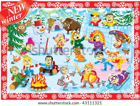 Big world picture of collection cartoon personage. Winter Christmas holiday. Camping. - stock vector