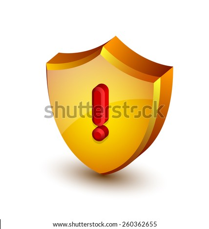 Big yellow and glossy security alert shield with red exclamation mark on white background - stock vector