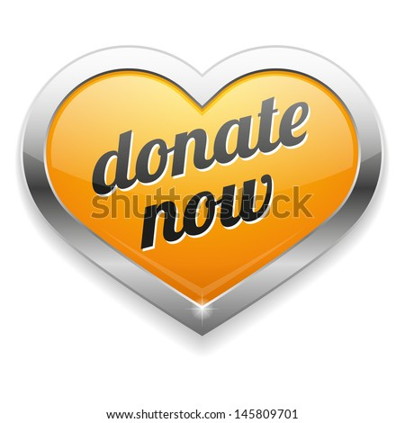 Big yellow donate now heart button - stock vector
