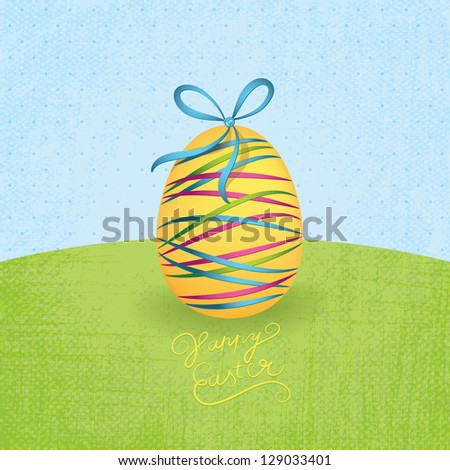 Big yellow Easter egg with colorful ribbons at grassland. Merry Easter theme. Blue, green and pink ribbons. - stock vector