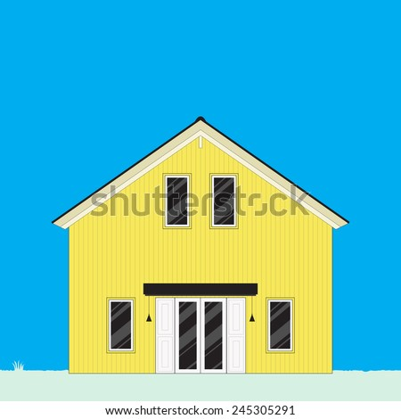 Big yellow house on blue sky background