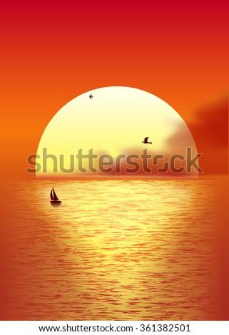 Big yellow sun  at beautiful sunset above the sea. Vector illustration. - stock vector