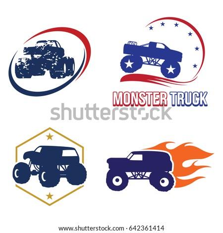 Bigfoot Monster Truck Logo Symbol Collection Stock Vector 642361414