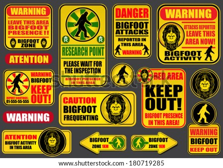 Bigfoot Signs Collection - stock vector
