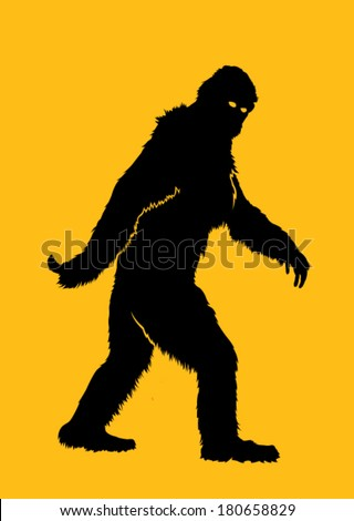 Bigfoot Silhouette Illustration - stock vector