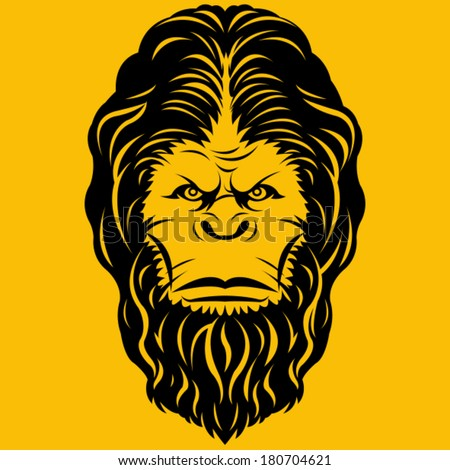 Bigfoot Yeti Head Illustration - stock vector