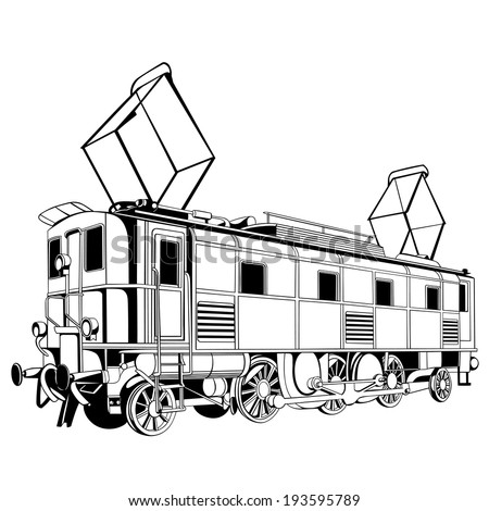 biggest and oldest electric locomotive for design - stock vector
