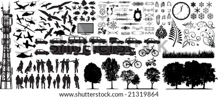 Biggest collection of different vector silhouettes - stock vector