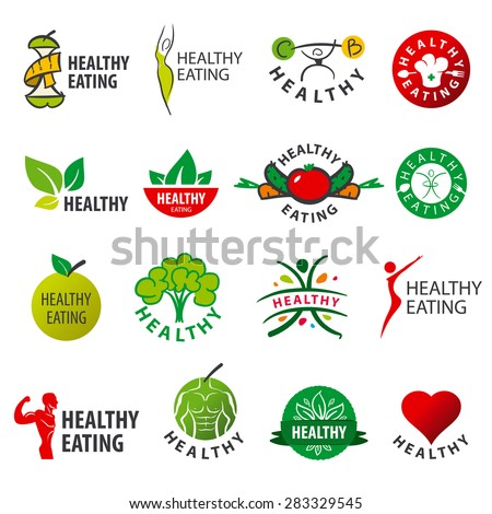biggest collection of vector logos healthy eating - stock vector