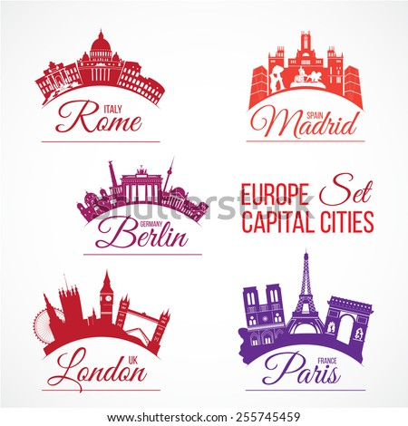 Biggest Europe capital cities skylines with lettering logos. Italy, Rome; Spain, Madrid; Germany, Berlin; Great Britain, London; France, Paris. Vector set - stock vector