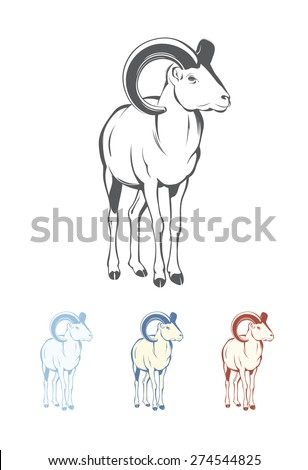 Bighorn Sheep. Colors easy to change in one click - stock vector