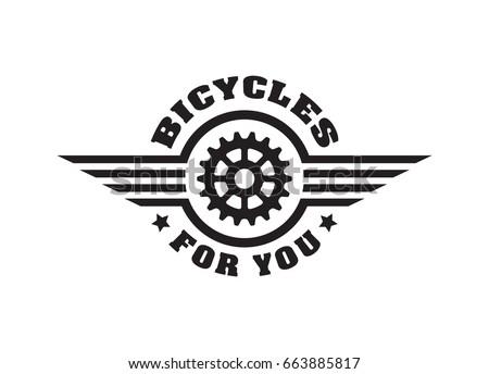 Bike badge vintage sports logo sticker for print on t shirt retro monochrome