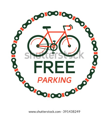Bike free for parking vector with the hipster styled modern urban bike in the center of illustration. 100% vector easy to edit illustration.  - stock vector