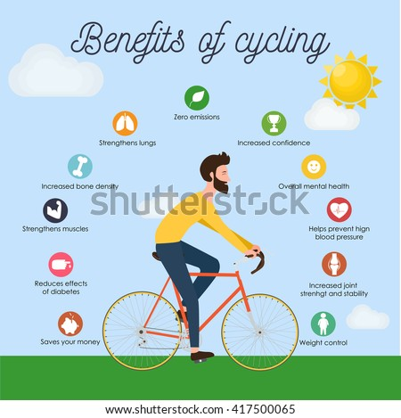 Bike infographics. Benefits of cycling. Young man in bright clothes riding bike. Stylish male on bicycle side view. Cool vector character hipster design outdoors. Bearded sportsman, flat style - stock vector