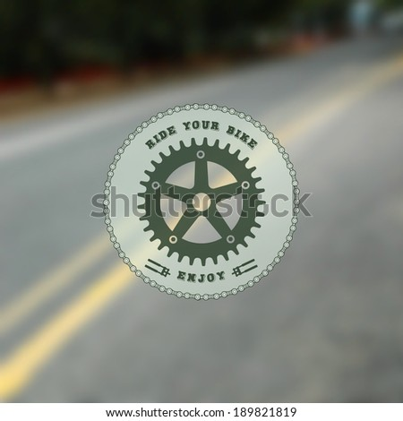 Bike label on blurred road background. Minimalistic multifunctional media backdrop. Vector interface template.  Vector. Editable. Blurred. - stock vector