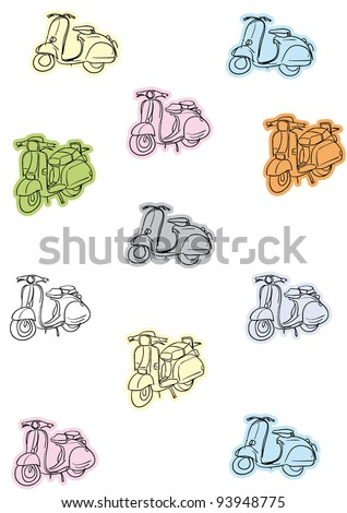 bike motorcycle motor scooter two wheels - stock vector