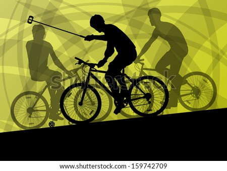 Bike polo game players active men cyclists bicycle riders sport silhouettes detailed vector background illustration