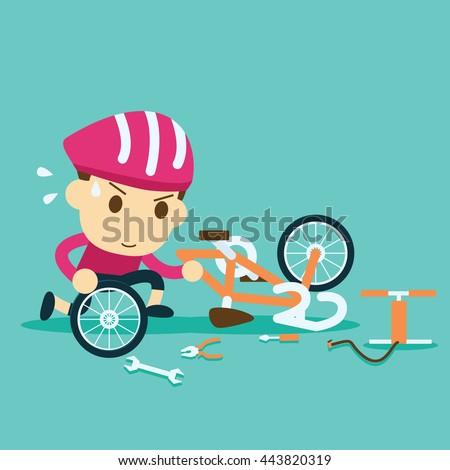 bike repair. cyclist racer repairing a bicycle - stock vector