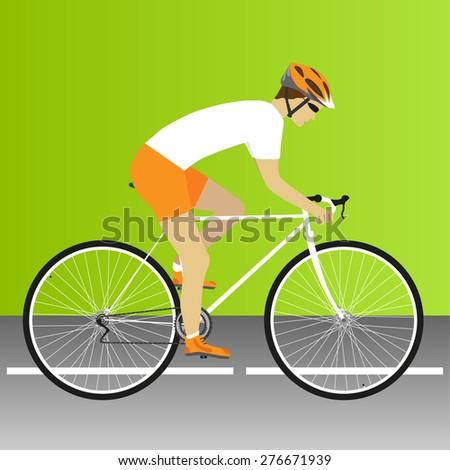 Bike, road, bike race, cycling, bicycle, road bike race. Vector illustration - stock vector