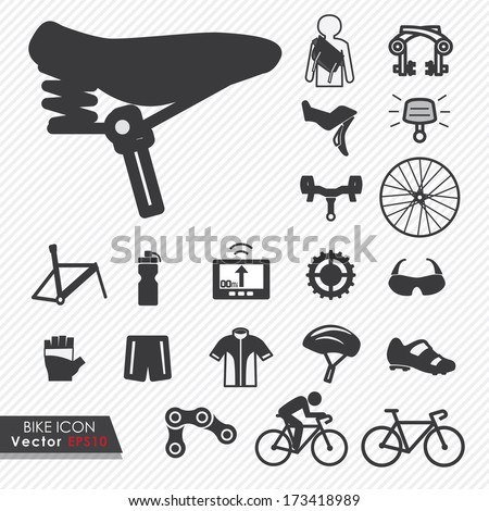 Bike tools and equipment part and accessories set vector icon - stock vector