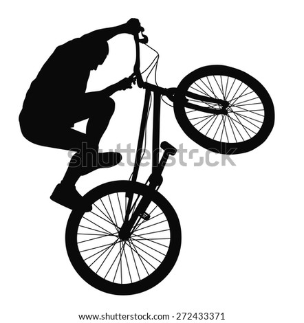 Bike trick detailed vector silhouette. Sports design
