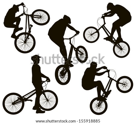 Bike trick detailed vector silhouettes set. Sports design - stock vector