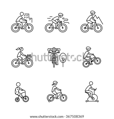 Bike types and cycling sign set. Man, woman, kids. Thin line art icons. Linear style illustrations isolated on white. - stock vector