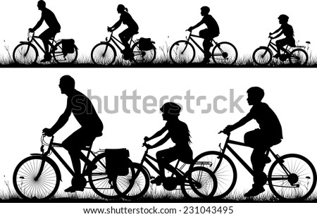 bike - vector silhouettes and icon - stock vector