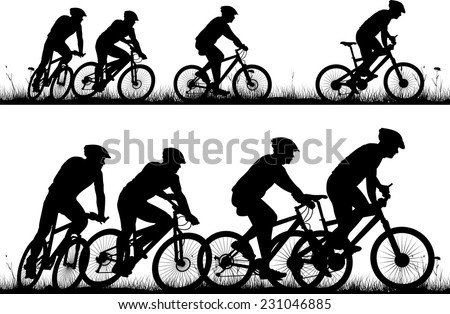 bike - vector silhouettes and icon