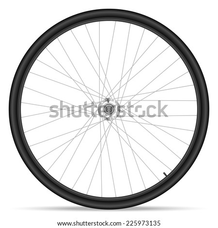 Bike wheel on white background.
