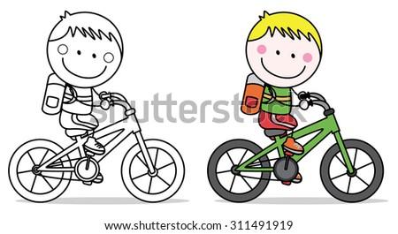 Biker boy - stock vector