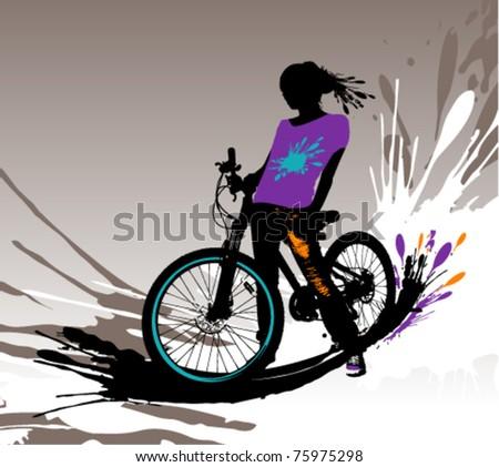Biker girl silhouette, vector illustration with splashes. - stock vector
