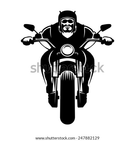 Biker icon. A man in a helmet with a beard on a motorcycle. Vector illustration - stock vector
