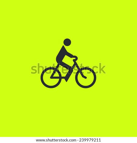Biker on bicycle icon: common bike riding pictogram on green background. For maps, schemes, applications and infographics.  - stock vector