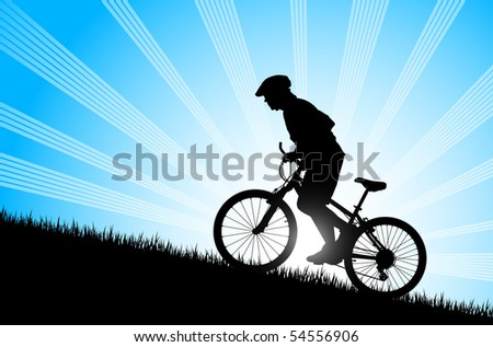 Biker riding up to hill - stock vector