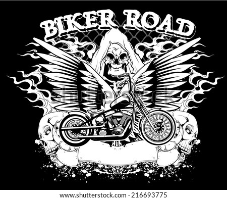 Biker road - stock vector
