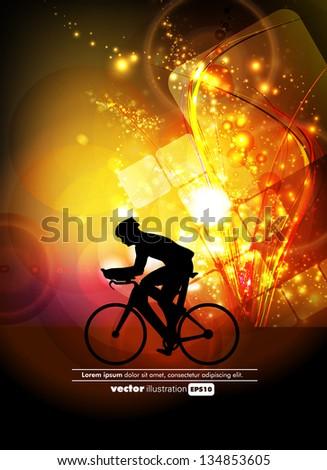 Biker. Sport vector - stock vector
