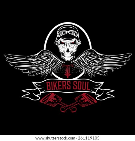 biker theme label with pistons and skulls with wings - stock vector