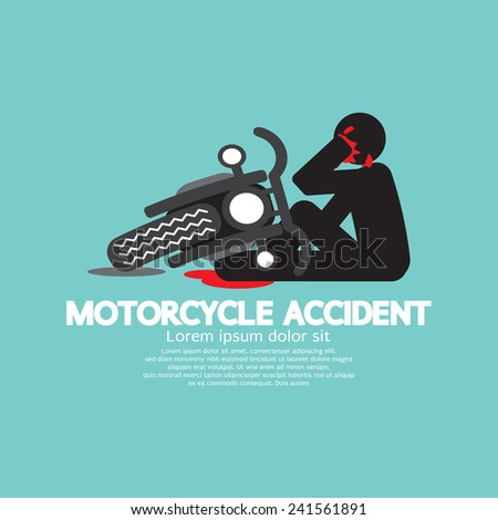 Biker With Motorcycle Have In An Accident Vector Illustration - stock vector