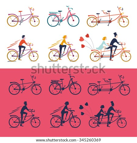 Bikes icons set. Isolated  bicycles with people. Colored and silhouette version. - stock vector