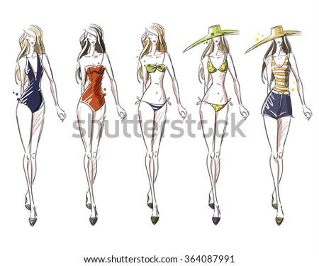 bikini catwalk - stock vector